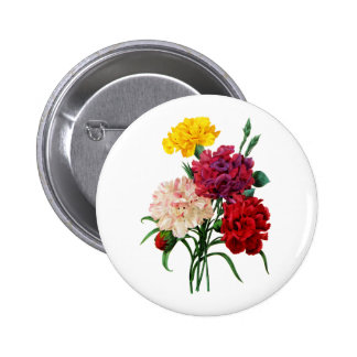 Carnation and Marigold Bouquet by Redoute Pinback Button
