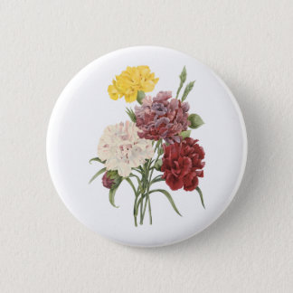 carnation(Dianthus sp.) by Redouté Pinback Button