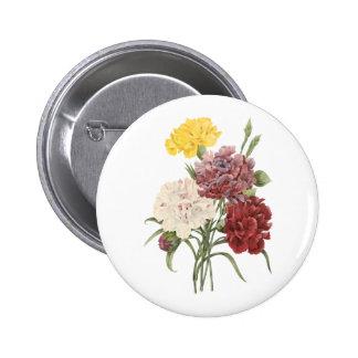 carnation(Dianthus sp.) by Redouté Pinback Button