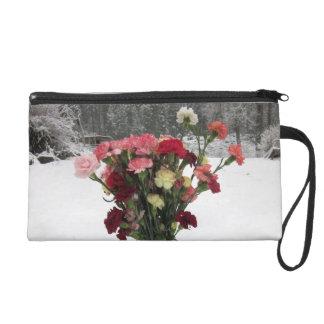 Carnation Flowers Wristlet