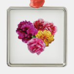 Carnation Heart Mixed Colors Christmas Ornament