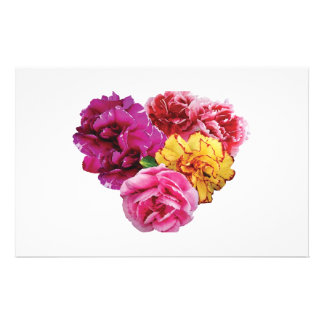 Carnation Heart Mixed Colors Stationery Design