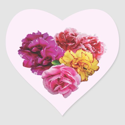 Carnation Heart Mixed Colors Sticker
