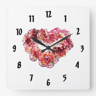Carnation Heart Square Wall Clock