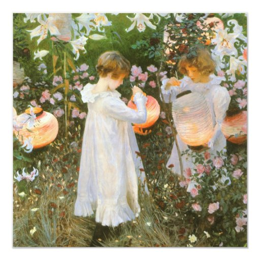 Carnation, Lily, Lily, Rose By John Singer Sargent 5.25x5.25 Square Paper Invitation Card