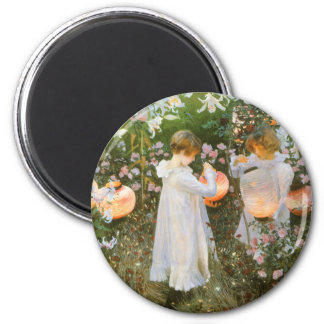 Carnation, Lily, Lily, Rose By John Singer Sargent 2 Inch Round Magnet