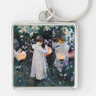 Carnation, Lily, Lily, Rose - John Singer Sargent Silver-Colored Square Keychain