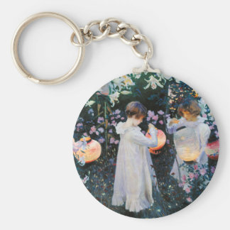 Carnation, Lily, Lily, Rose - John Singer Sargent Basic Round Button Keychain