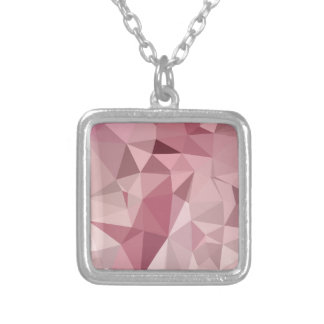Carnation Pink Abstract Low Polygon Background Square Pendant Necklace