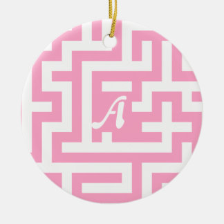 Carnation Pink and White Maze Monogram Double-Sided Ceramic Round Christmas Ornament
