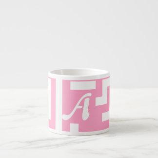 Carnation Pink and White Maze Monogram Espresso Cups
