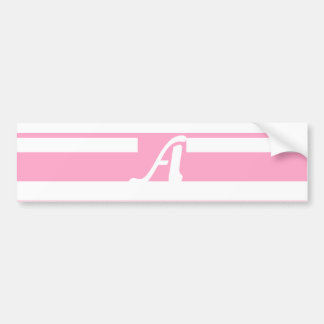 Carnation Pink and White Random Stripes Monogram Bumper Sticker