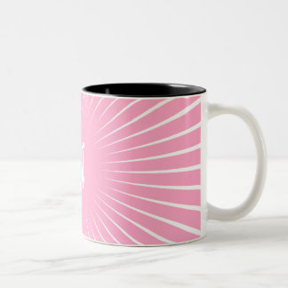 Carnation Pink and White Sunrays Monogram Coffee Mugs