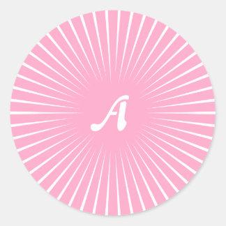 Carnation Pink and White Sunrays Monogram Sticker