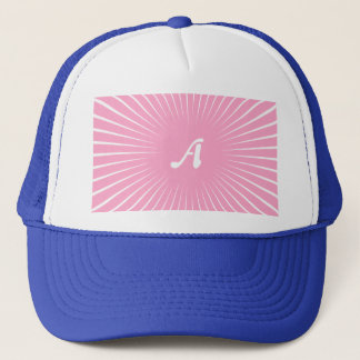 Carnation Pink and White Sunrays Monogram Trucker Hat
