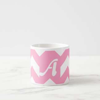 Carnation Pink and White Zigzag Monogram Espresso Cup