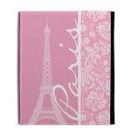 Carnation Pink Damask Pattern iPad Folio Cover