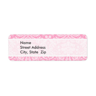 Carnation Pink Damask Pattern Return Address Labels