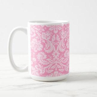 Carnation Pink Damask Pattern Classic White Coffee Mug