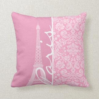 Carnation Pink Damask Pattern Pillow