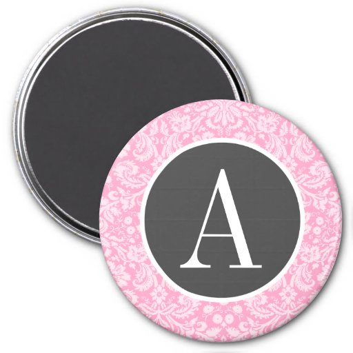 Carnation Pink Damask Pattern Refrigerator Magnet