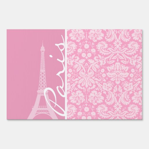 Carnation Pink Damask Pattern Lawn Signs