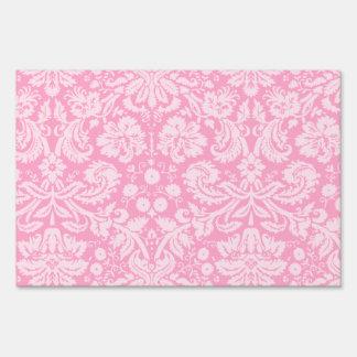 Carnation Pink Damask Pattern Sign