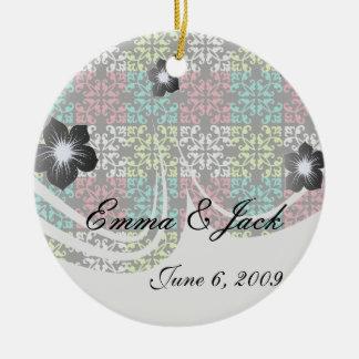 carnation pink lime aqua sweet damask squares ceramic ornament