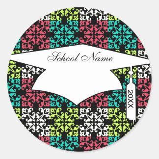 carnation pink lime aqua sweet damask squares classic round sticker
