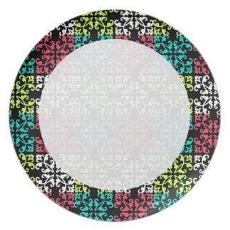 carnation pink lime aqua sweet damask squares dinner plate
