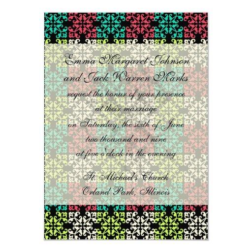 carnation pink lime aqua sweet damask squares 4.5x6.25 paper invitation card