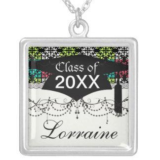 carnation pink lime aqua sweet damask squares square pendant necklace