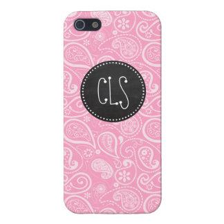Carnation Pink Paisley; Vintage Chalkboard look iPhone SE/5/5s Case