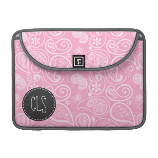 Carnation Pink Paisley; Vintage Chalkboard look Sleeve For MacBooks