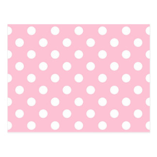Carnation Pink Polka Dot Pattern Postcard