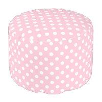 Carnation Pink Polka Dot Pattern Pouf