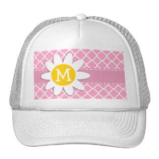 Carnation Pink Quatrefoil; Daisy Trucker Hat