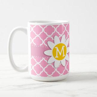 Carnation Pink Quatrefoil; Daisy Coffee Mugs