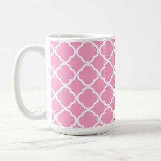 Carnation Pink Quatrefoil Coffee Mugs