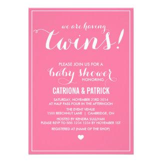 Carnation Pink Script Twins Baby Shower Invitation