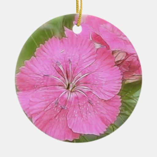 Carnation Pink Sweet Williams Christmas Tree Ornament