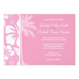 Carnation Pink Tropical Hibiscus; Summer Palm Custom Invitation