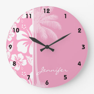 Carnation Pink Tropical Hibiscus; Summer Palm Large Clock