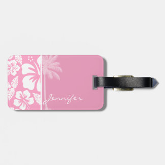 Carnation Pink Tropical Hibiscus; Summer Palm Tags For Bags