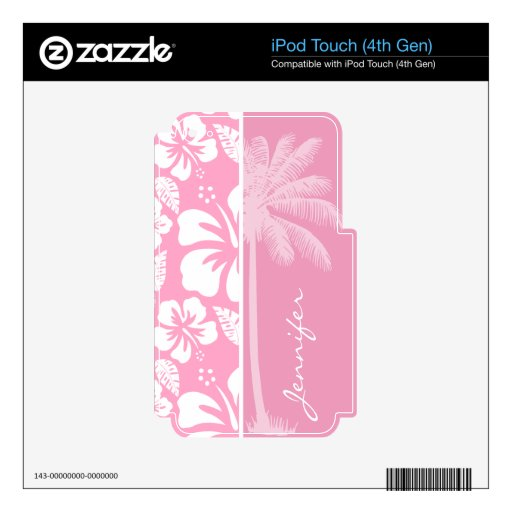Carnation Pink Tropical Hibiscus; Summer Palm Decals For iPod Touch 4G