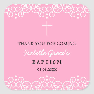 Carnation Pink & White | Baptism Thank You Square Sticker
