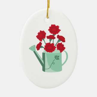 Carnation Watering Can Ceramic Ornament