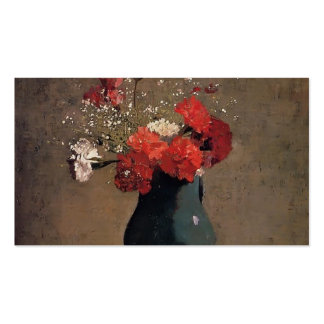 Carnations and baby's breath by Odilon Redon Double-Sided Standard Business Cards (Pack Of 100)