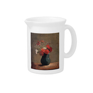 Carnations and baby's breath by Odilon Redon Beverage Pitchers