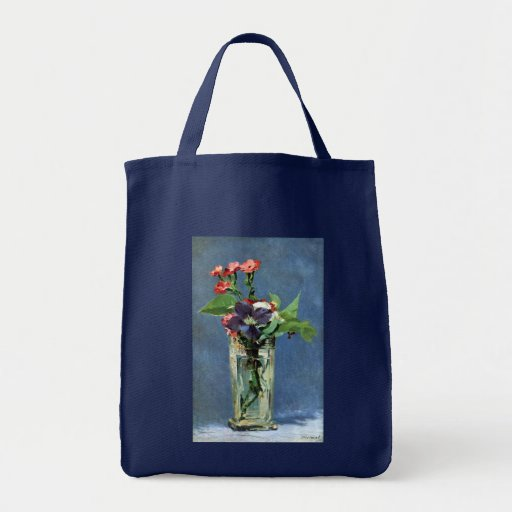 Carnations and Clematis in a Crystal Vase, Manet Grocery Tote Bag